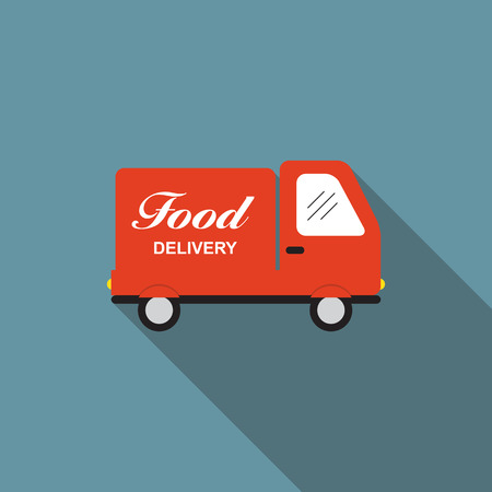 Icon with Flat Graphics Element of Food Delivery Car Vector Illu Vector