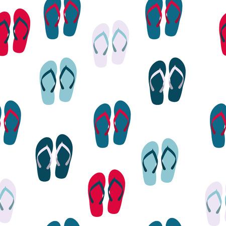 flops: Beach Seamless Background with Flip Flops Vector Illustration