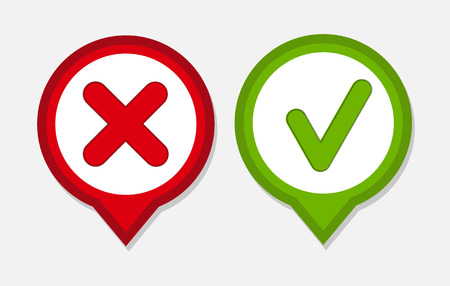 green check mark: Vector Red and Green Check Mark Icons Illustration