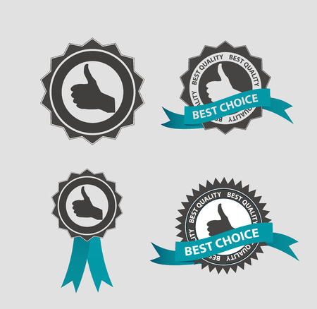 quality service: Vector Best Choice Label with Blue Ribbon