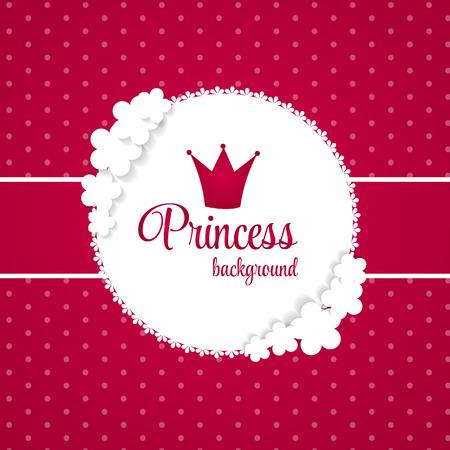 frog queen: Princess Crown  Background Vector Illustration.