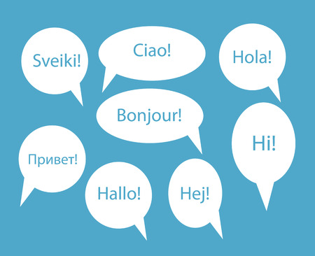 dan: Set of Speech Bubble with Hello Word on Different Languages (Dan