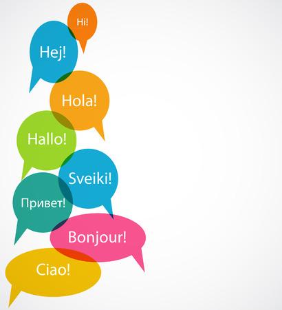 Conjunto de la burbuja del discurso con Hello Word en Diferentes Idiomas (Dan