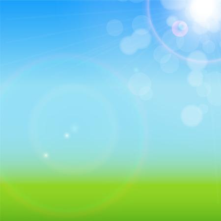 sky sun: Natural Sunny Background Vector Illustration EPS10