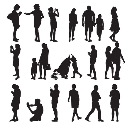 Set of Silhouette People Vectores