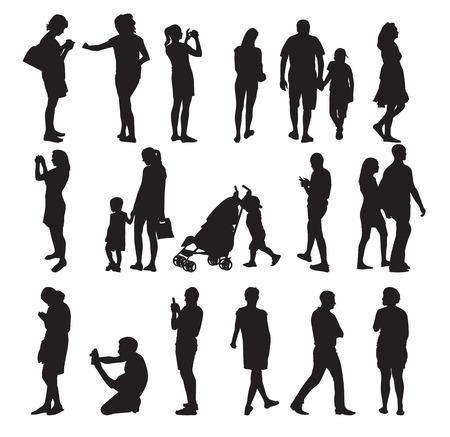 Set of Silhouette People Vettoriali