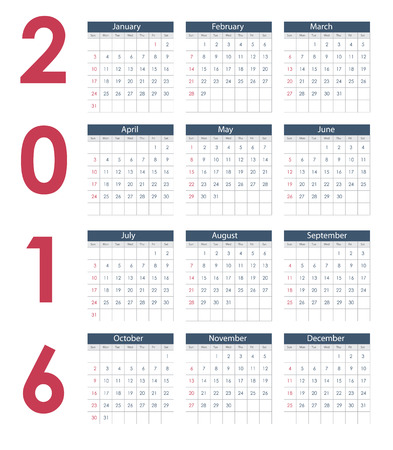 end of the days: 2016 New Year Calendar  Illustration