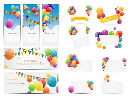 Color Glossy Balloons Background Set Vector Illustration EPS10