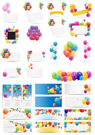 urodziny: Ilustracja Kolor błyszczący Balony karty Mega Zestaw Vector EPS10