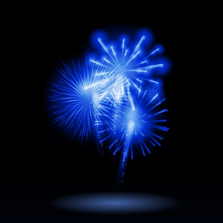 salute: Vector Illustration of Fireworks, Salute on a Dark Background