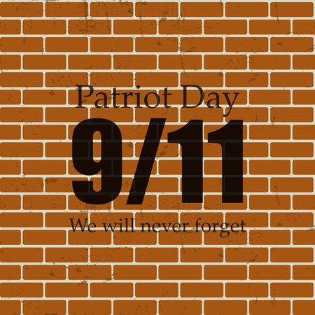 will: Patriot Day the 119 Label, We Will Never Forget  Vector Illustration
