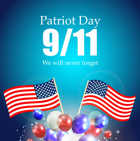 Patriot Day the 119 Label, We Will Never Forget  Vector Illustration