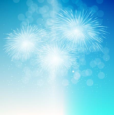 Karanlık arka planda Fireworks, Salute Vektör İllüstrasyon