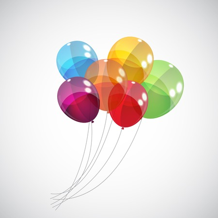 flying balloon: Color Glossy Balloons Background Vector Illustration