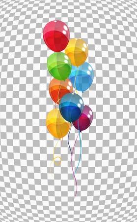 celebra: Globos de color brillante de fondo Ilustraci�n vectorial