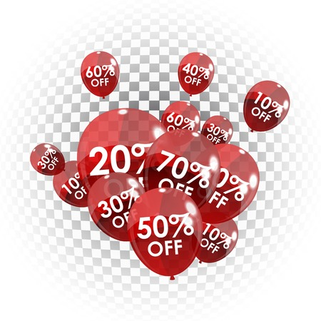 discount tag: Color Glossy Balloons Sale Concept of Discount. Vector Illustration.