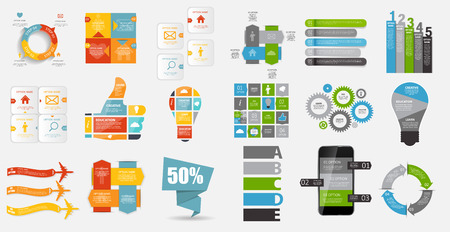 information technology: Collection of Infographic Templates for Business Vector Illustration