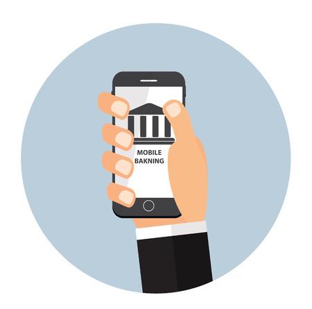 mobile banking: Mobile Banking Payment Flat Concept Vector Illustration Illustration