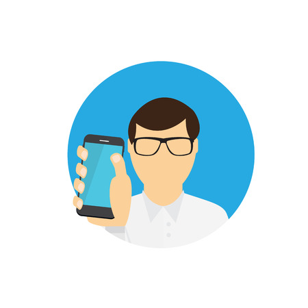 mobile communication: A Man Holding a Mobile Phone. Communication Concept. Vector Illustration.
