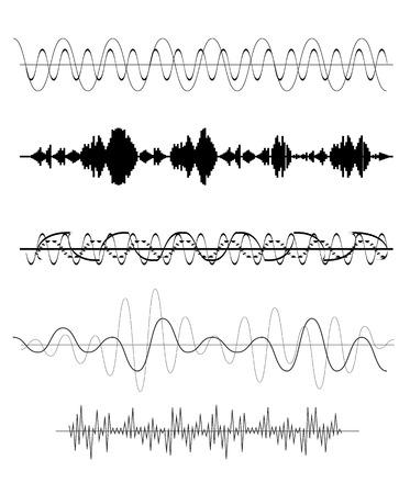 pulse: Set of Sound Wave. Vector Illustration. EPS10