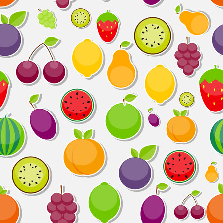 lemon lime: Seamless Pattern Background from Apple, Orange, Plum, Cherry, Lemon, Lime, Watermelon, Strawberries, Kiwi, Peaches, Grapes and Pear  Vector Illustration. EPS10