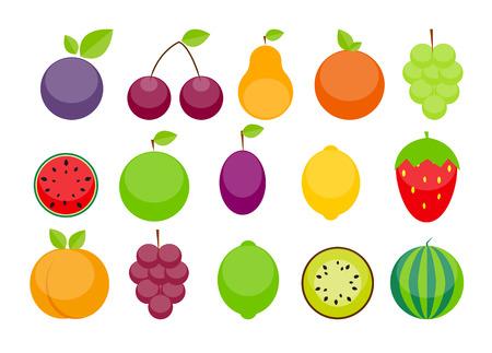 lemon lime: Mela, Arancia, prugna, ciliegia, limone, lime, anguria, fragole, kiwi, pesche, uva e pera illustrazione vettoriale. EPS10 Vettoriali