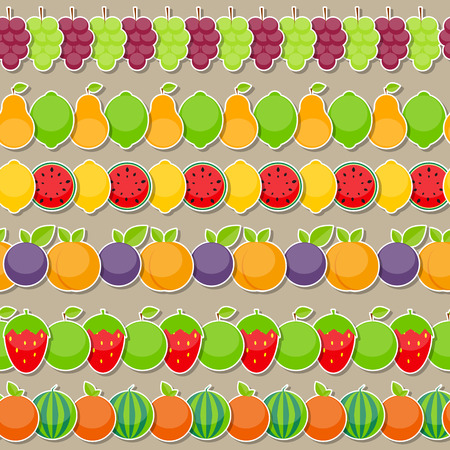 lemon lime: Seamless Pattern Background from Apple, Orange, Plum, Cherry, Lemon, Lime, Watermelon, Strawberries, Kiwi, Peaches, Grapes and Pear  Vector Illustration. EPS10