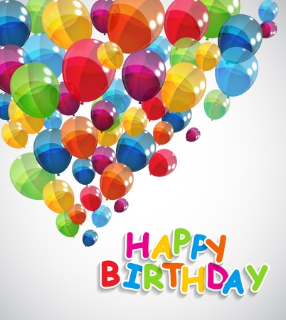 happy birthday vector: Color Glossy Balloons Happy Birthday Background Vector Illustration EPS10 Illustration