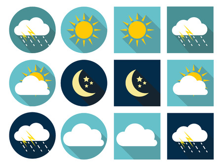 sol y luna: Iconos del tiempo con Sol, Nube, Lluvia y la Luna en el estilo plano con Long Shadows EPS10