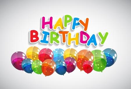 happy birthday cartoon: Color Glossy Balloons Happy Birthday Background Vector Illustration EPS10 Illustration