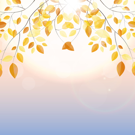Shiny Autumn Natural Leaves Background. Vector Illustration EPS10