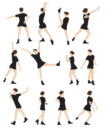 Silhouette of a Dancing Woman Vector Illustration EPS10 Illustration