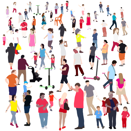 family discussion: Set of People. Children, Adults, Seniors. Vector Illustration. EPS10
