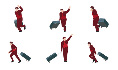 carrying out: Man Goes to the Suitcase. Vector Illustration. EPS10