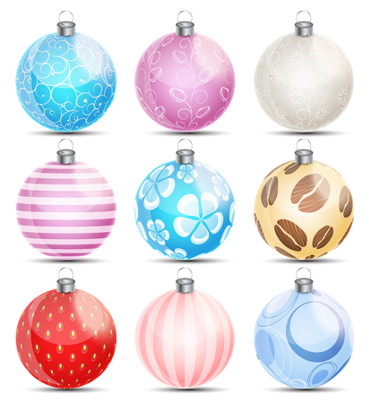 christmas balls: New Year and Christmas Balls Set Vector Illustration EPS10 Illustration