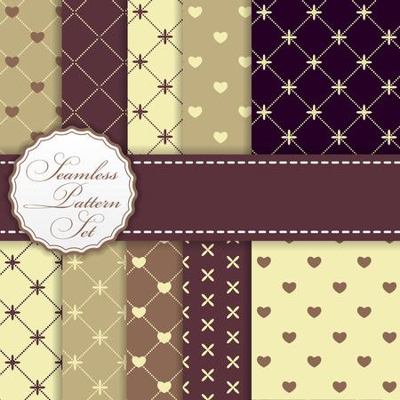 Romantische naadloze patroon achtergrond Set Vector Illustration EPS10