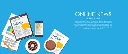 online news: Online News Vector illustration. Flat computing background. EPS10