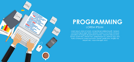 java script: Programming Coding Concept Flat Background Vector Illustration EPS10