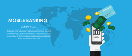 mobile banking: Mobile Banking Vector illustration. Flat computing background. EPS10
