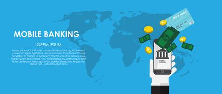 phone symbol: Mobile Banking Vector illustration. Flat computing background. EPS10