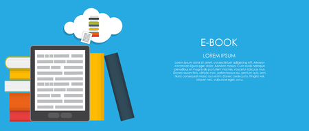 study icon: E-Book Vector illustration. Flat computing background. EPS10 Illustration