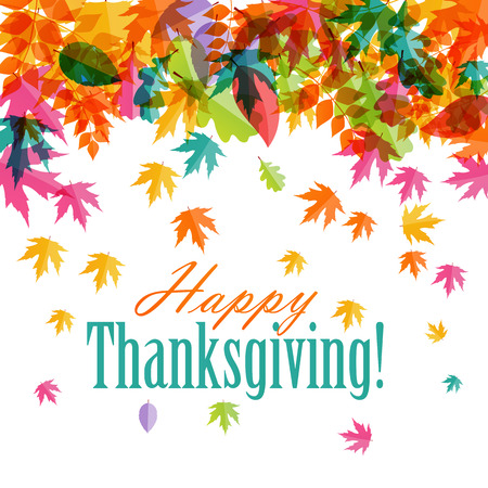 thanksgiving day greetings: Happy Thanksgiving Day Background with Shiny Autumn Natural Leaves. Vector Illustration EPS10