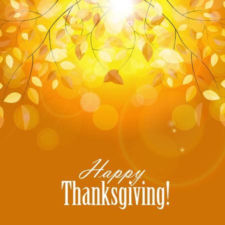 caes: Feliz Día de Acción de Gracias con antecedentes brillantes hojas de otoño Naturales. Ilustración vectorial EPS10
