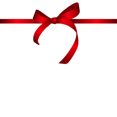 red ribbon bow: Red Gift Ribbon. Vector illustration EPS10 Illustration