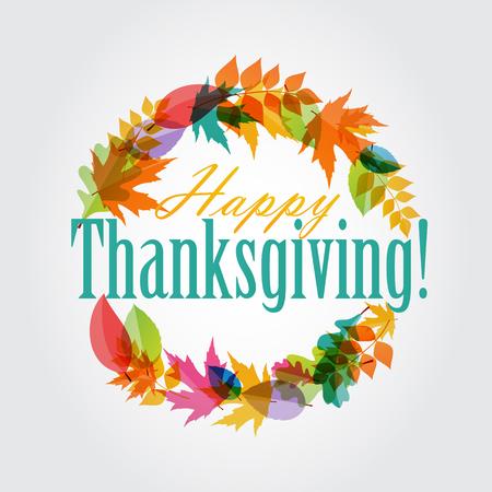 Happy Thanksgiving Day Hintergrund mit glänzenden Herbst Natürliche Blätter. Vector Illustration EPS10 Standard-Bild - 47866128