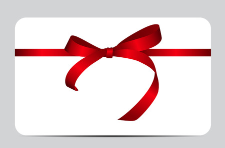 Card with Red Gift Ribbon. Vector illustration EPS10