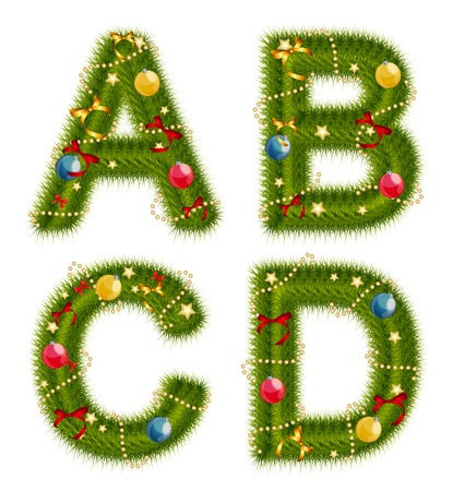 alhabet: Abstract beauty Christmas and New Year Abc. Vector  Illustration EPS10