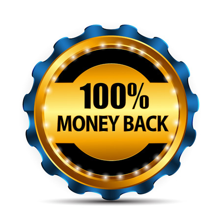 satisfaction guarantee: Vector Money Back Guarantee Gold Sign, Label EPS10 Illustration