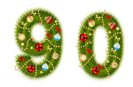 alphabetical order: Christmas alphabet number vector illustration