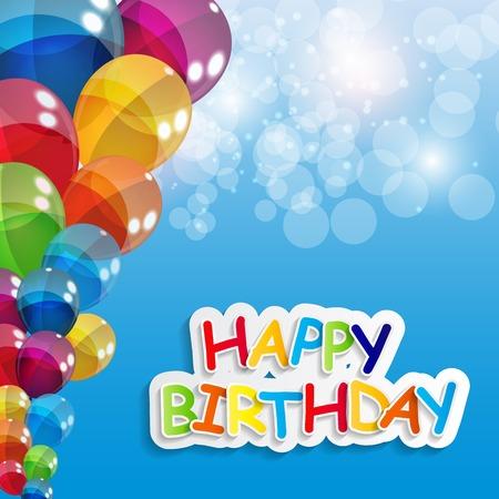彩色光澤氣球生日快樂背景插圖 向量圖像